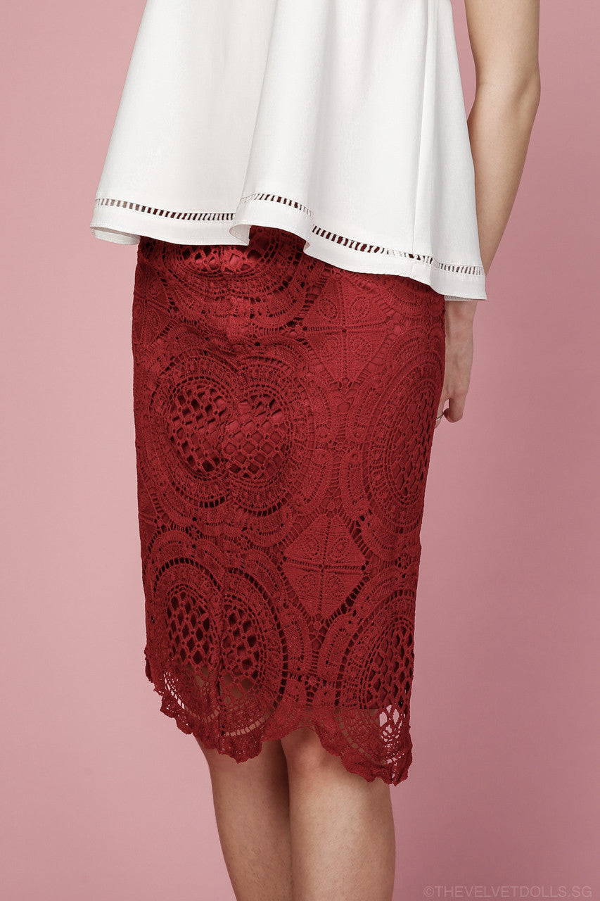 Nayla Crochet Pencil Skirt in Wine