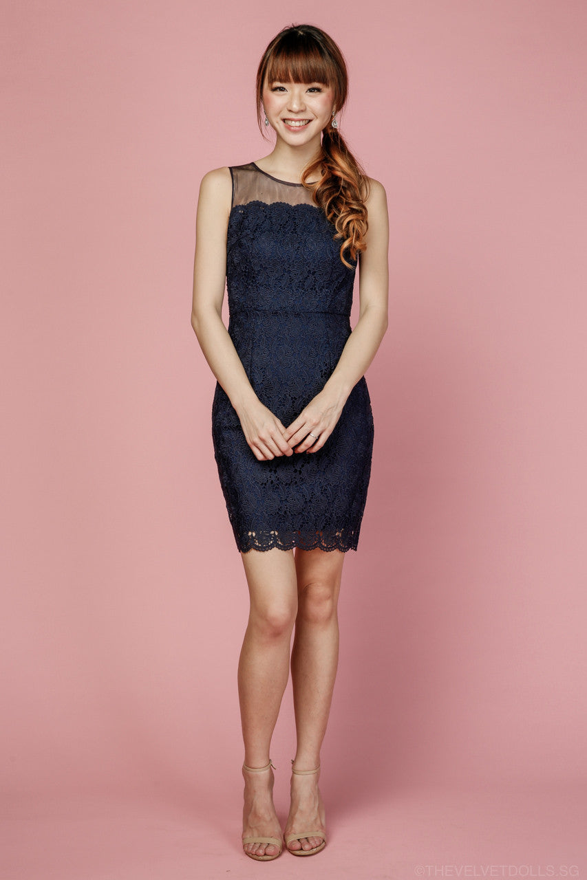 Jane Crochet Shift Dress in Navy