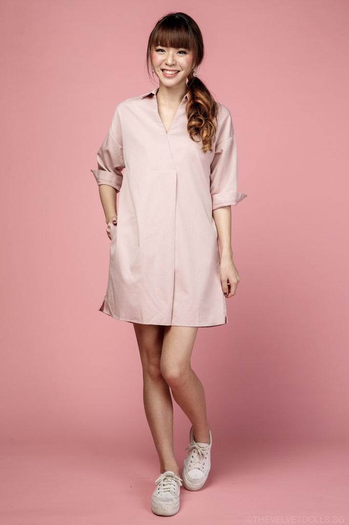 Restocked* Gerra V-Shirt Dress in Pink