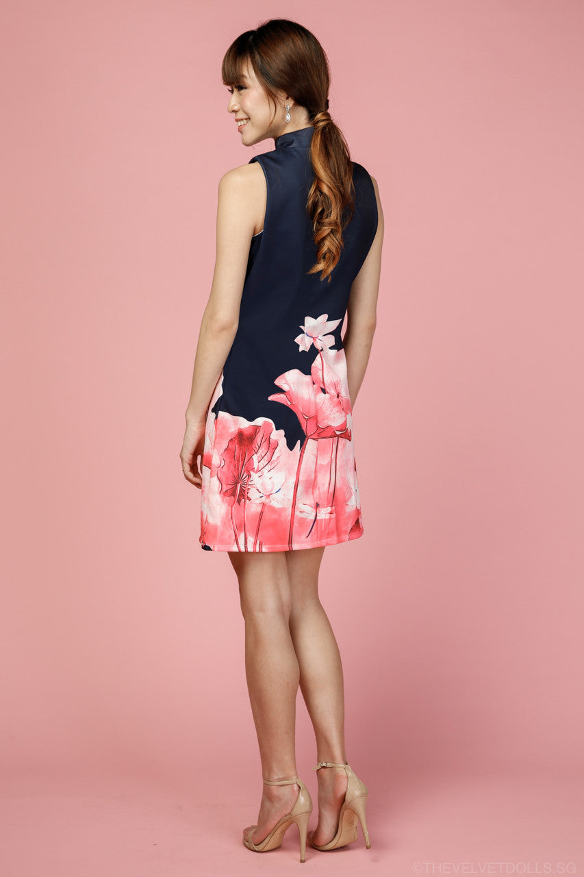 Charlene Floral Mandarin Collar Dress