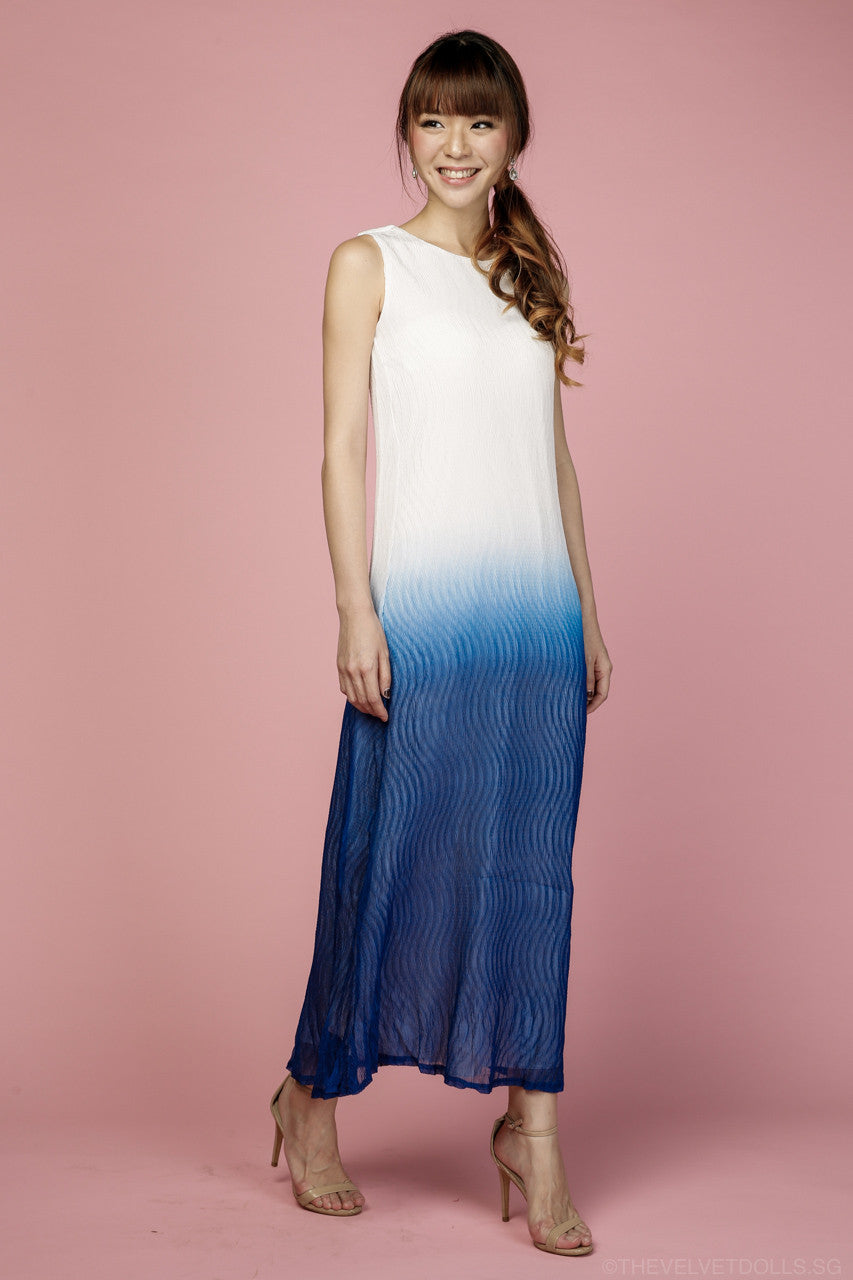 Jenna Ombre Maxi Dress in Blue