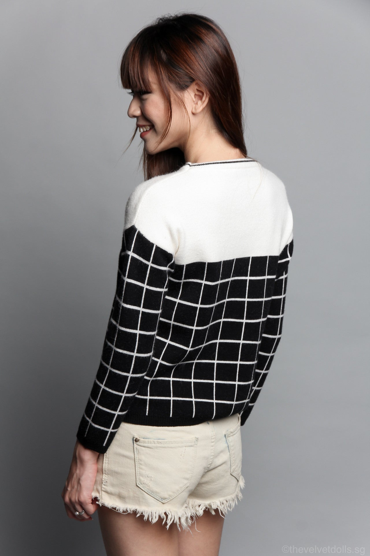 Val Grid Sweater in Black