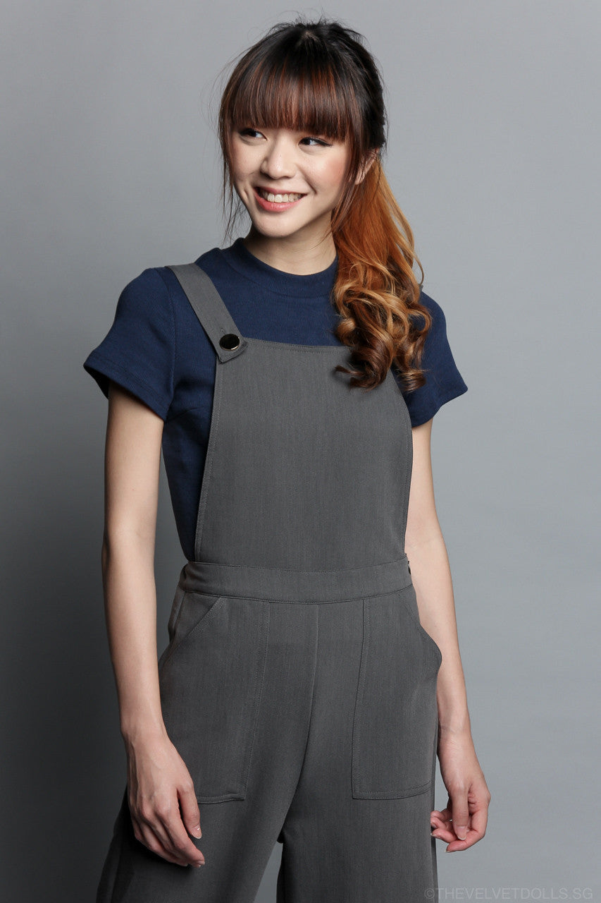 Bailey Pinafore Culottes Jumpsuit in Grey
