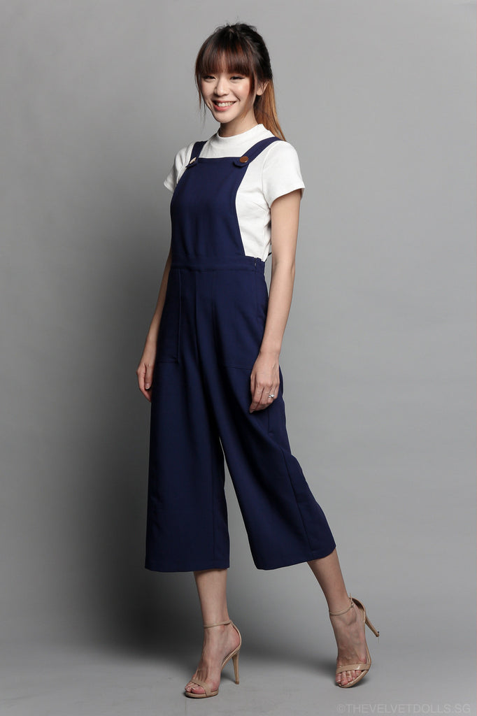 Bailey Pinafore Culottes Jumpsuit in Navy
