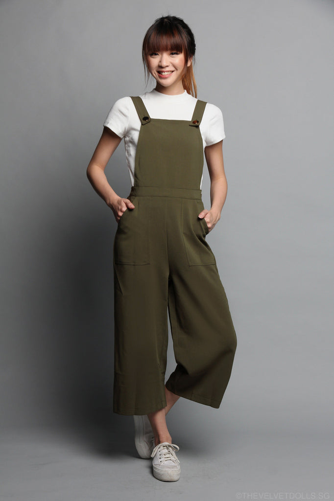 Bailey Pinafore Culottes Jumpsuit in Olive