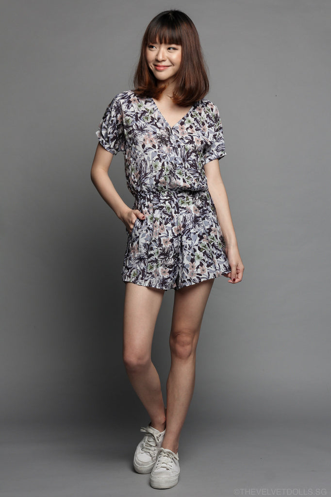 Hawaiian Daze Floral Playsuit in Lilac