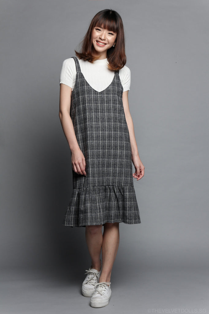 Gingham Pinafore Dress in Grey