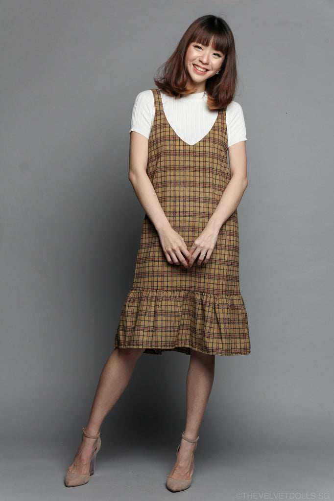 Gingham Pinafore Dress in Mustard