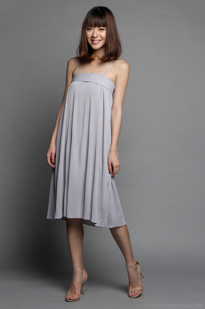Pleated Bandeau Dress in Grey