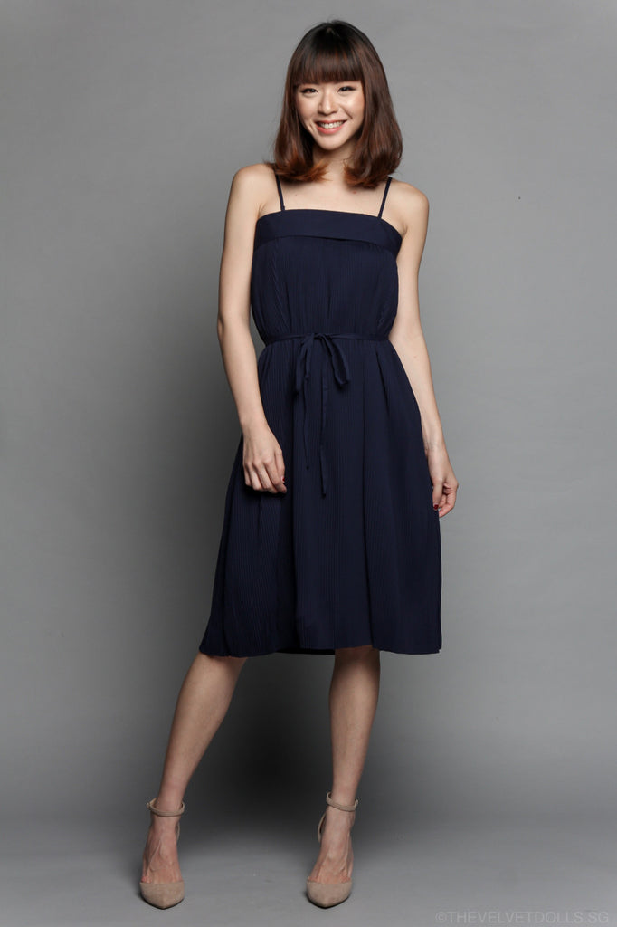 Pleated Bandeau Dress in Navy