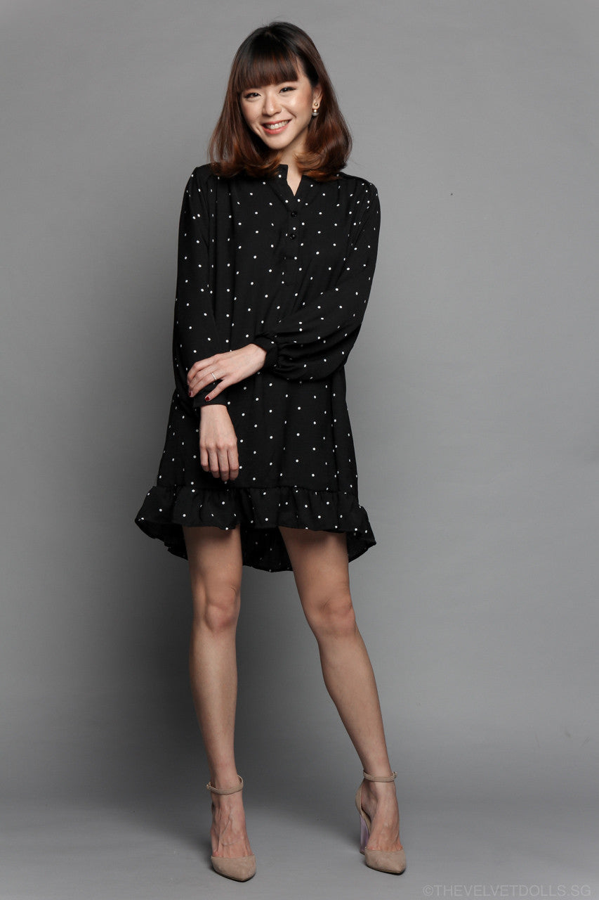 Restocked* Polkadot Ruffle Shirt Dress