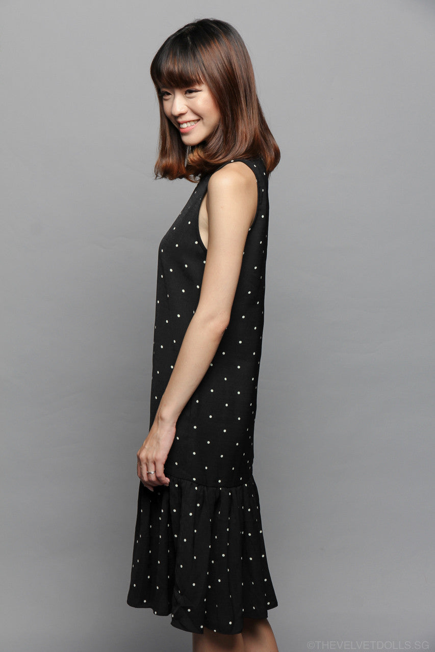 Restocked* Mayhem Midi Dress in Polkadots