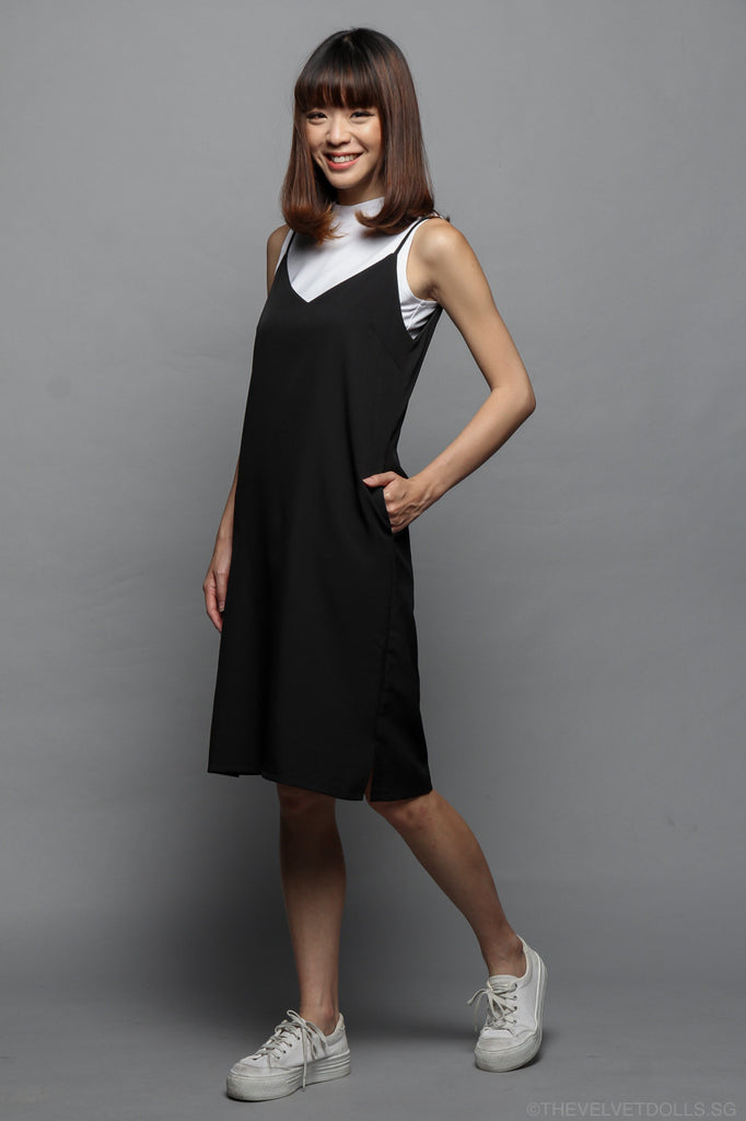 Freudian Slip Dress in Black with Inner Piece