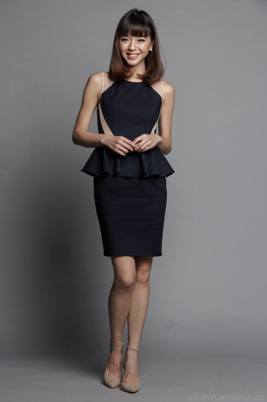 Anne Peplum Dress in Navy