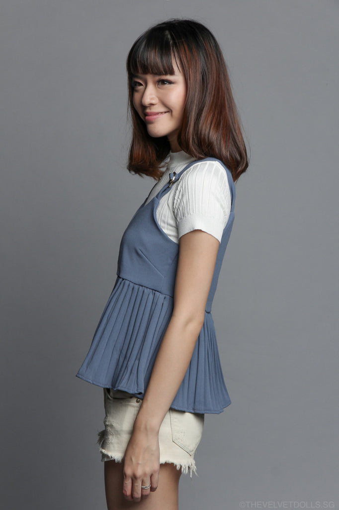 Vera Pleated Top in Blue