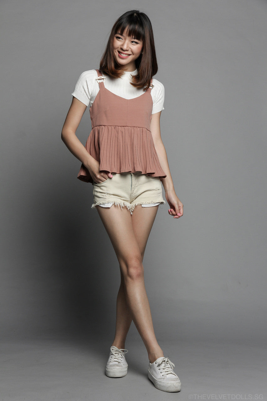 Vera Pleated Top in Blush
