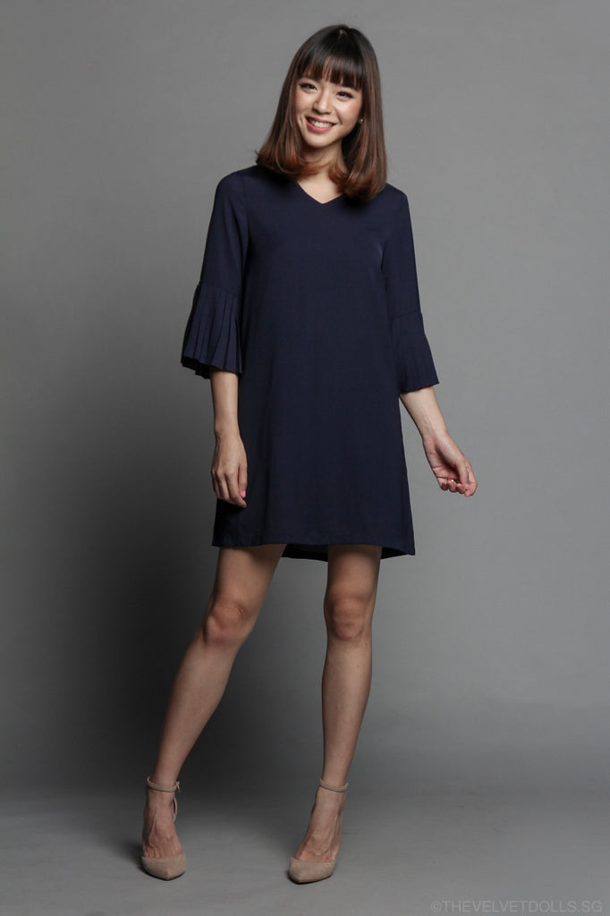 Pleated Symphony Dress in Navy