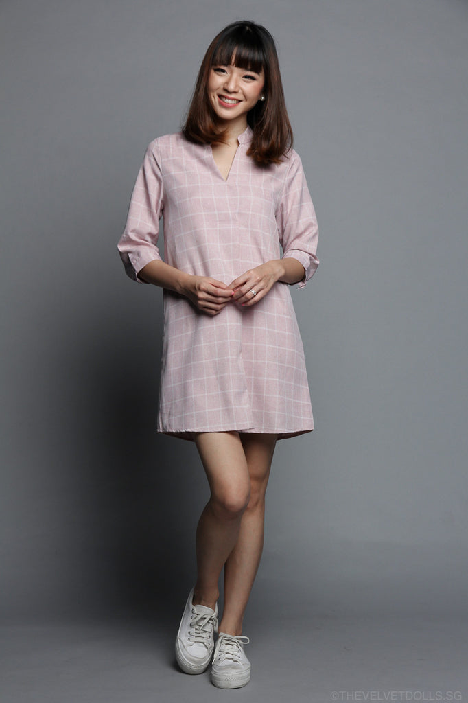 Carrie Shirt Dress in Pink Checks
