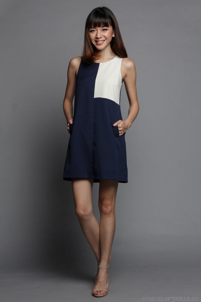 Square Off Shift Dress in Navy