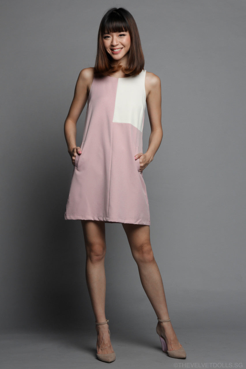 Square Off Shift Dress in Pink