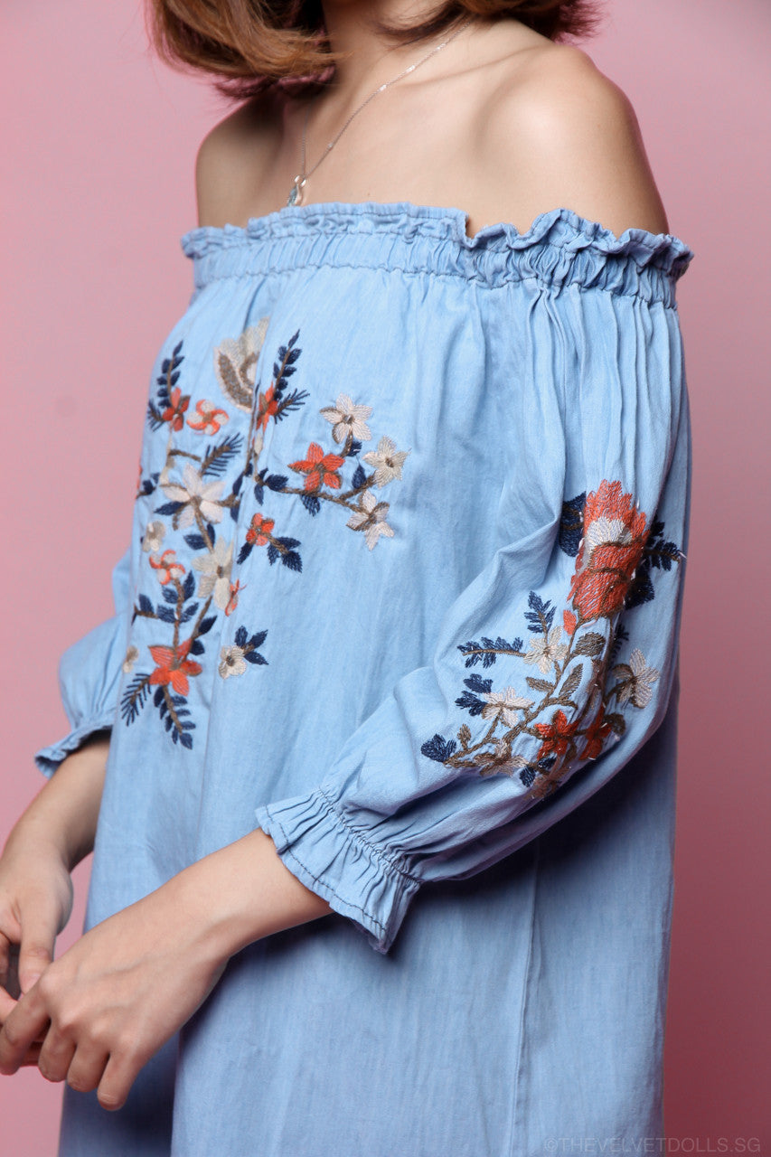 Candice Embroidery Denim Dress