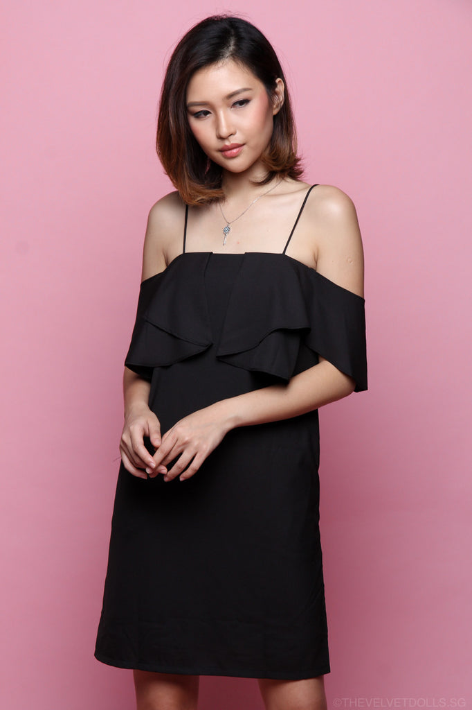 Emma Cold Shoulder Flutter Dress in Black