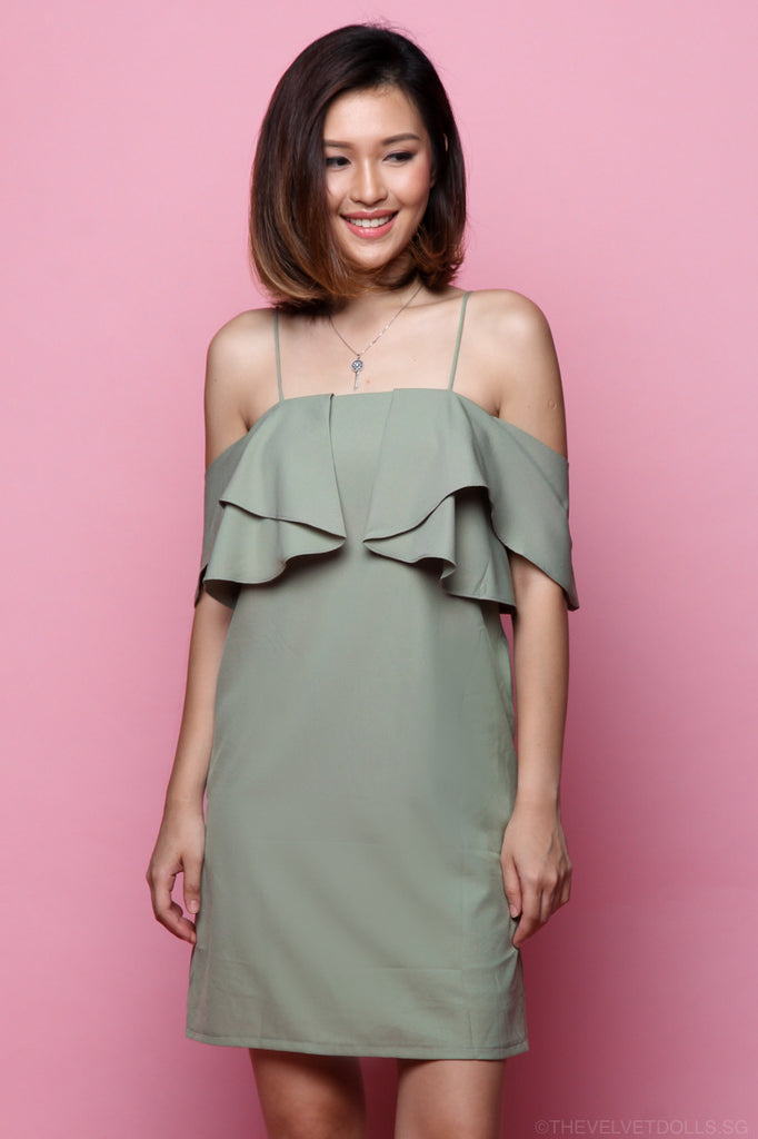Emma Cold Shoulder Flutter Dress in Moss