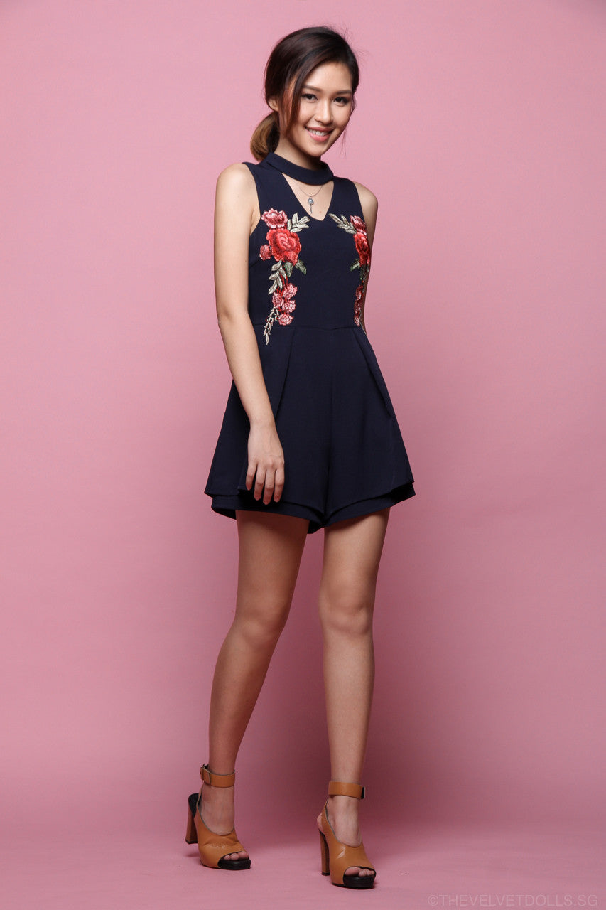 Eden Embroidery Playsuit in Navy