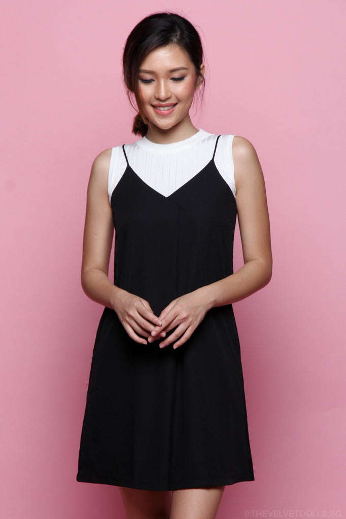 Luna Overlap Slip Dress in Black