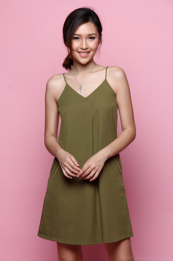 Luna Overlap Slip Dress in Olive