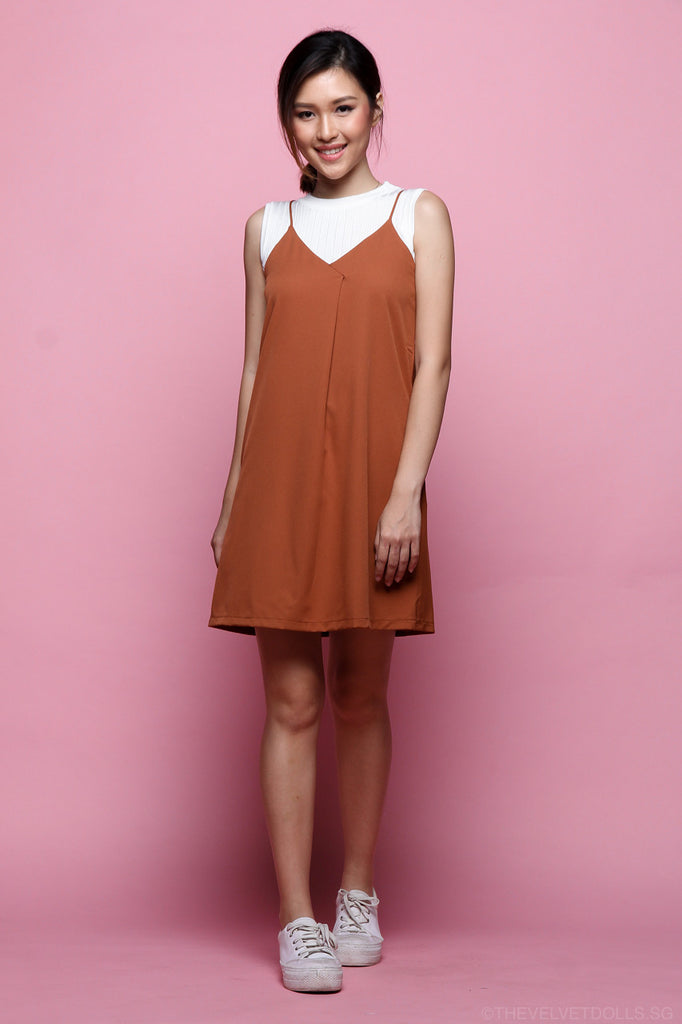 Luna Overlap Slip Dress in Rust