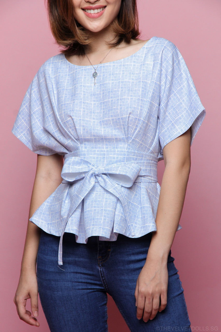 Printed Obi Sash Top in Sky