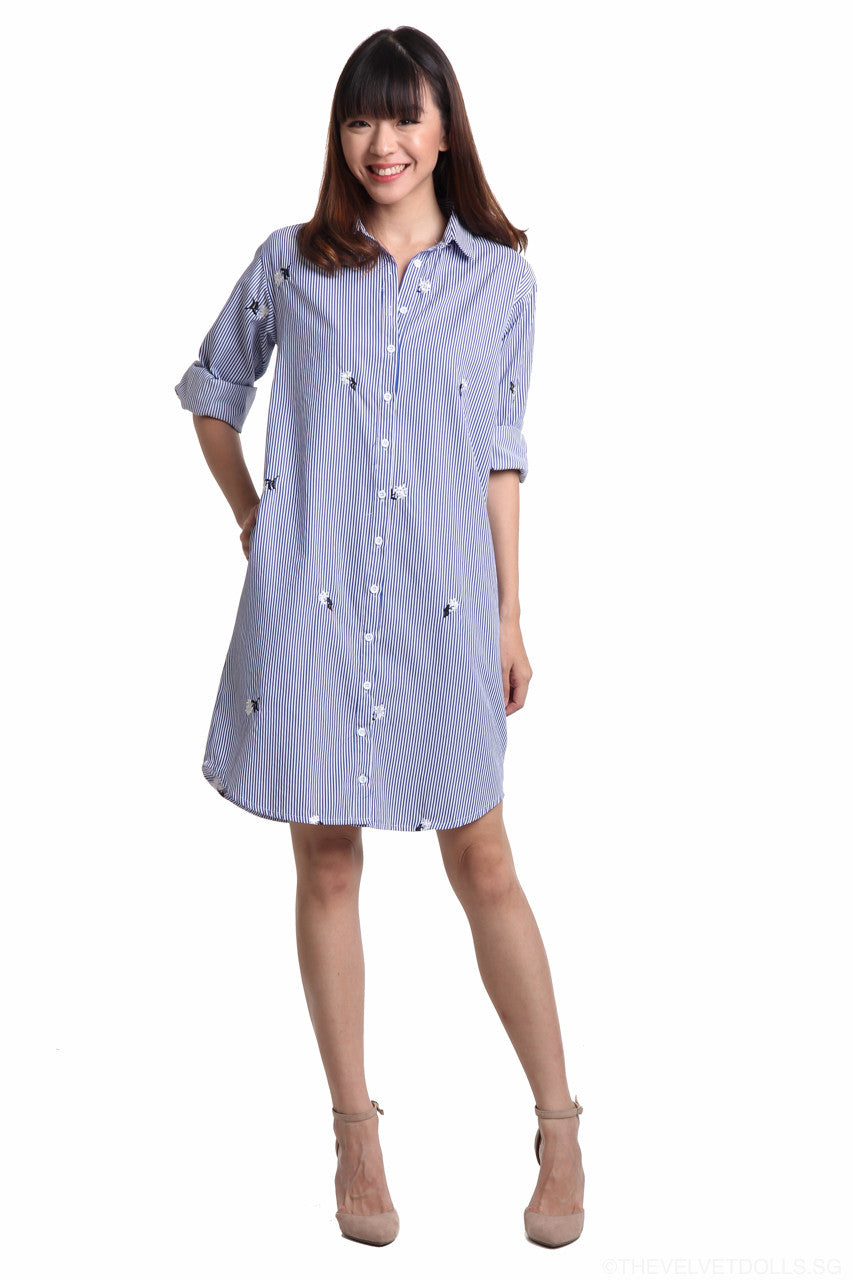 Embroidered Shirt Dress in Mono