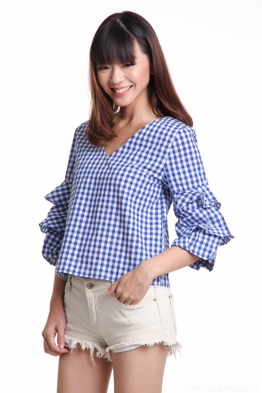 Restocked** Gingham Ruffle Sleeve Top in Blue