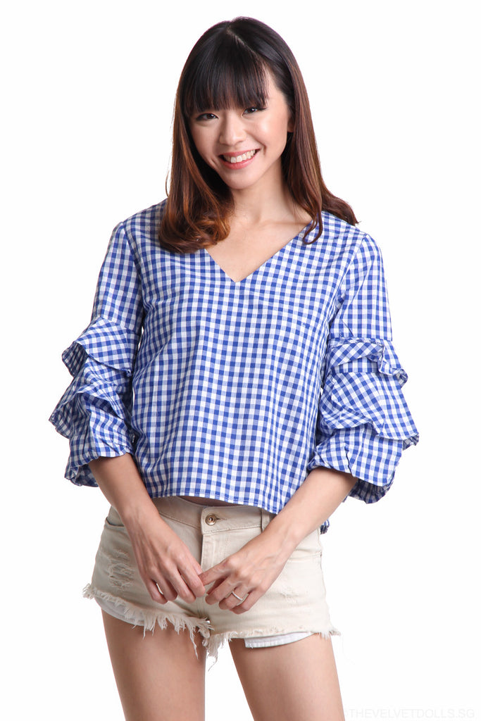 Gingham Ruffle Sleeve Top in Blue