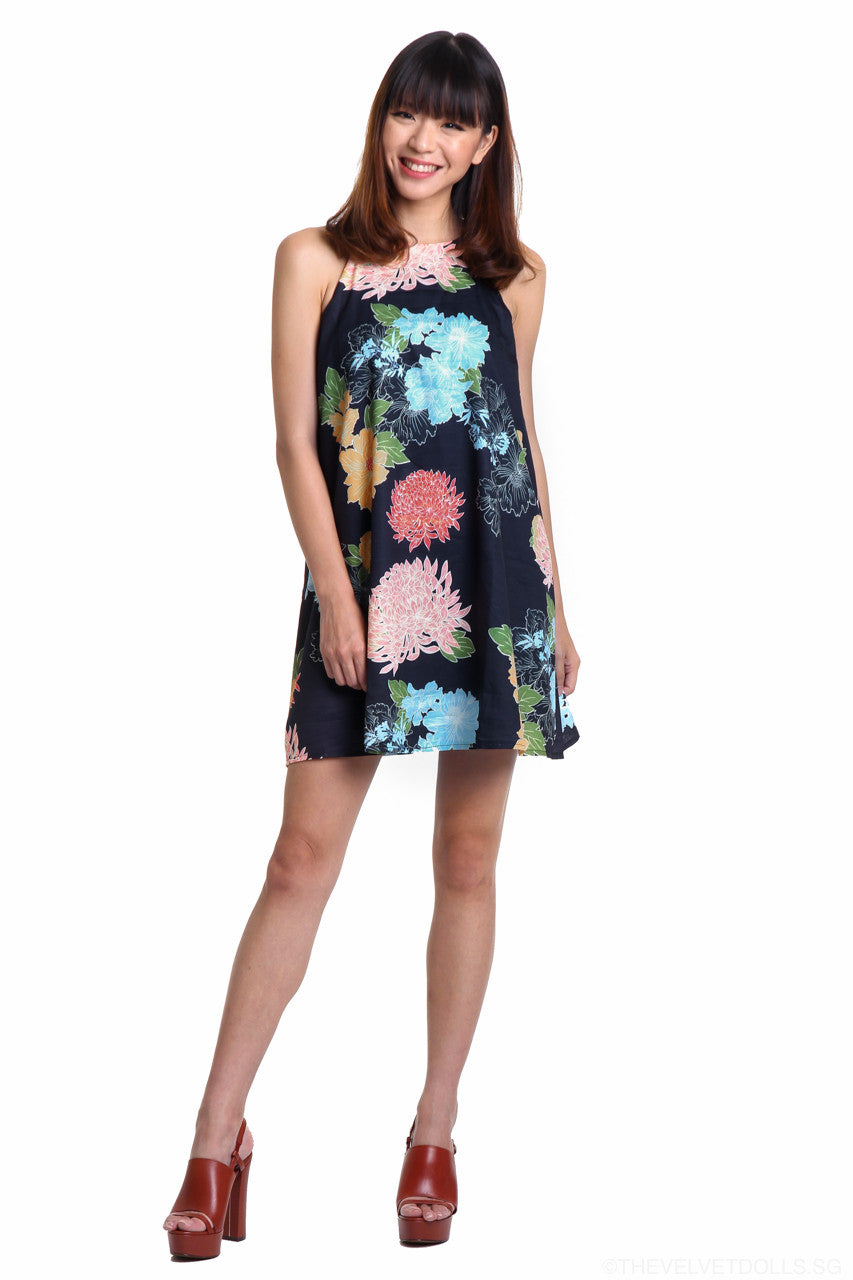 Peony Trapeze Dress in Navy