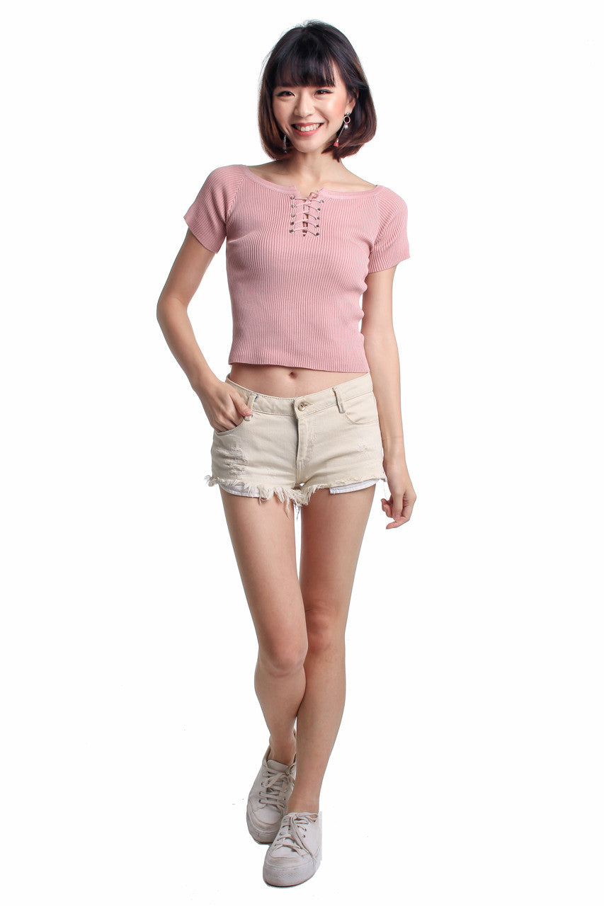 Basic Shoelace Top in Pink