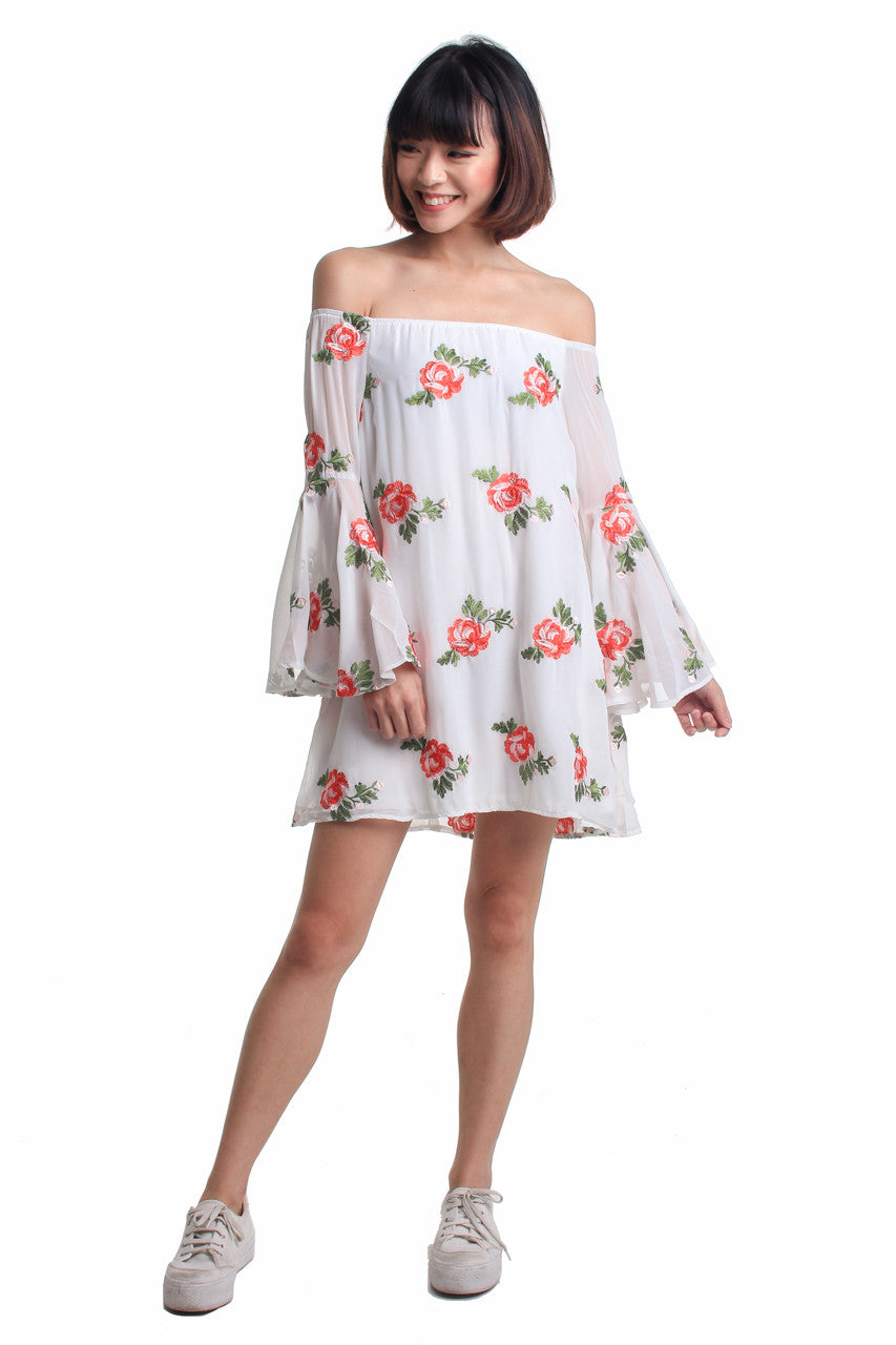 Bella Embroidered Off-Shoulder Dress in White