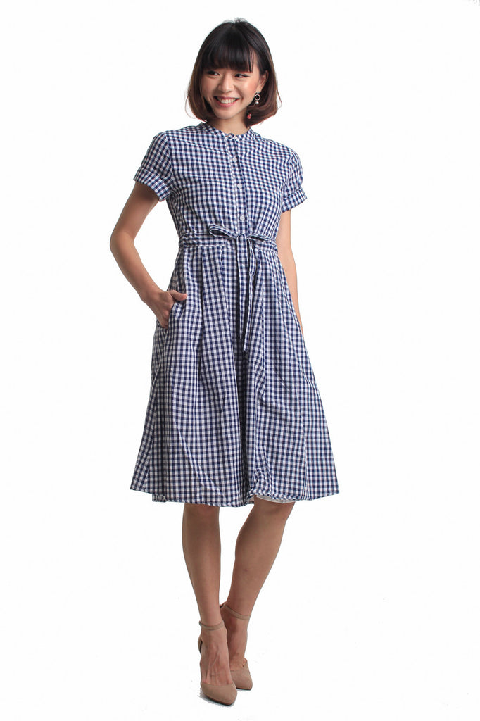 Restocked** Chayenne Midi Dress in Gingham Blue