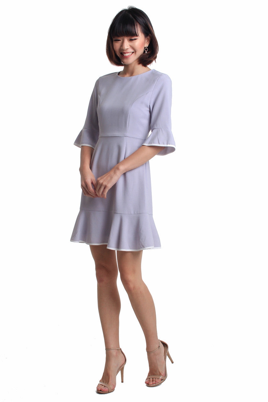 Pippin Trumpet Dress in Grey