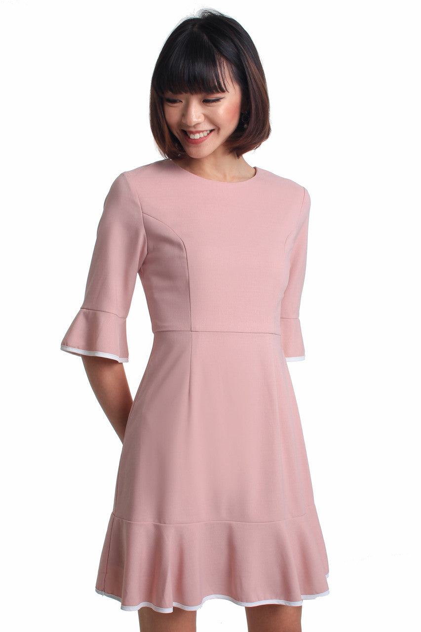 Pippin Trumpet Dress in Pink