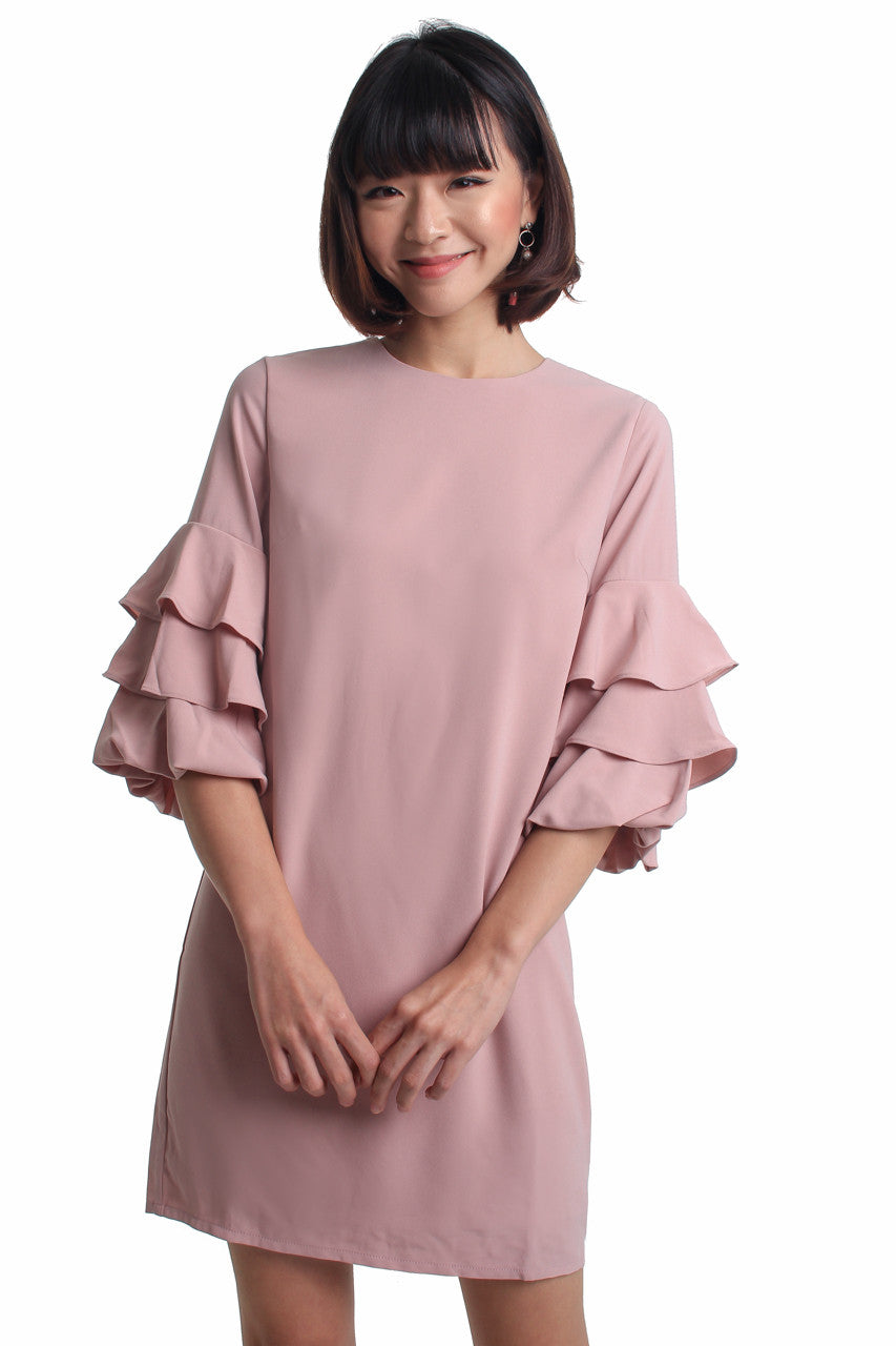 Restocked** Chiara Ruffle Sleeve Dress in Pink