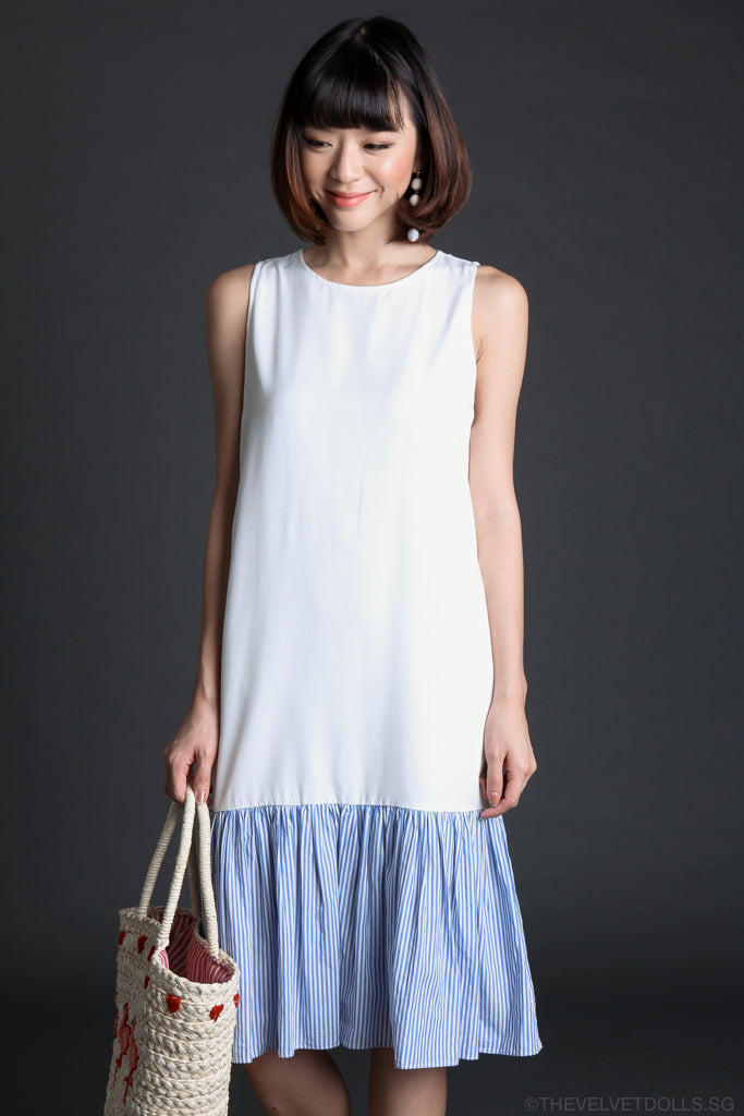 Mayhem Midi Dress in White Stripes