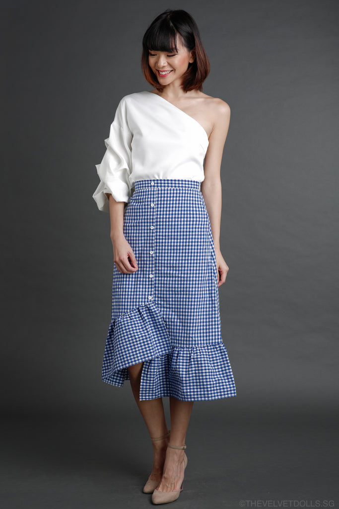 Brigette Ruffled Midi Skirt in Blue