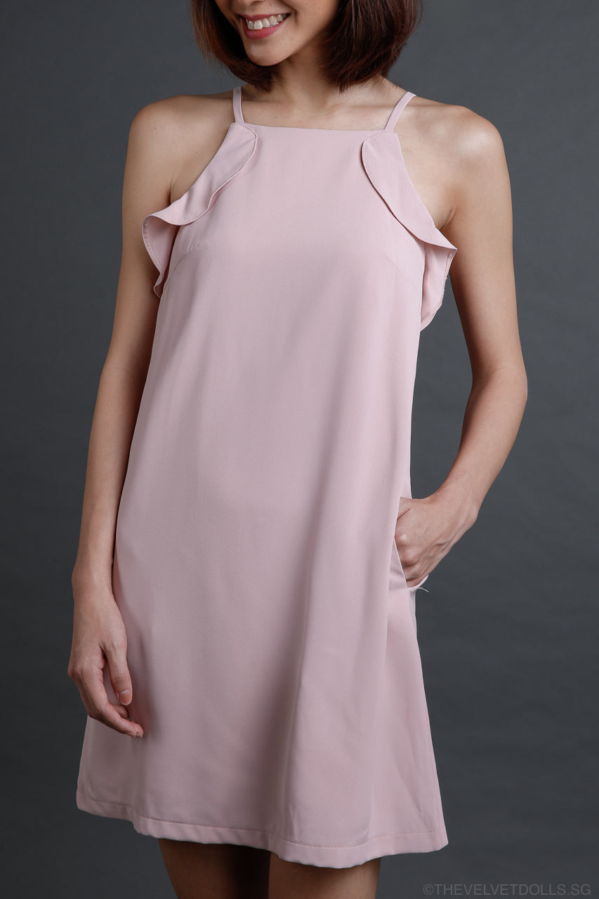 Coraline Ruffled Dress in Powder Pink
