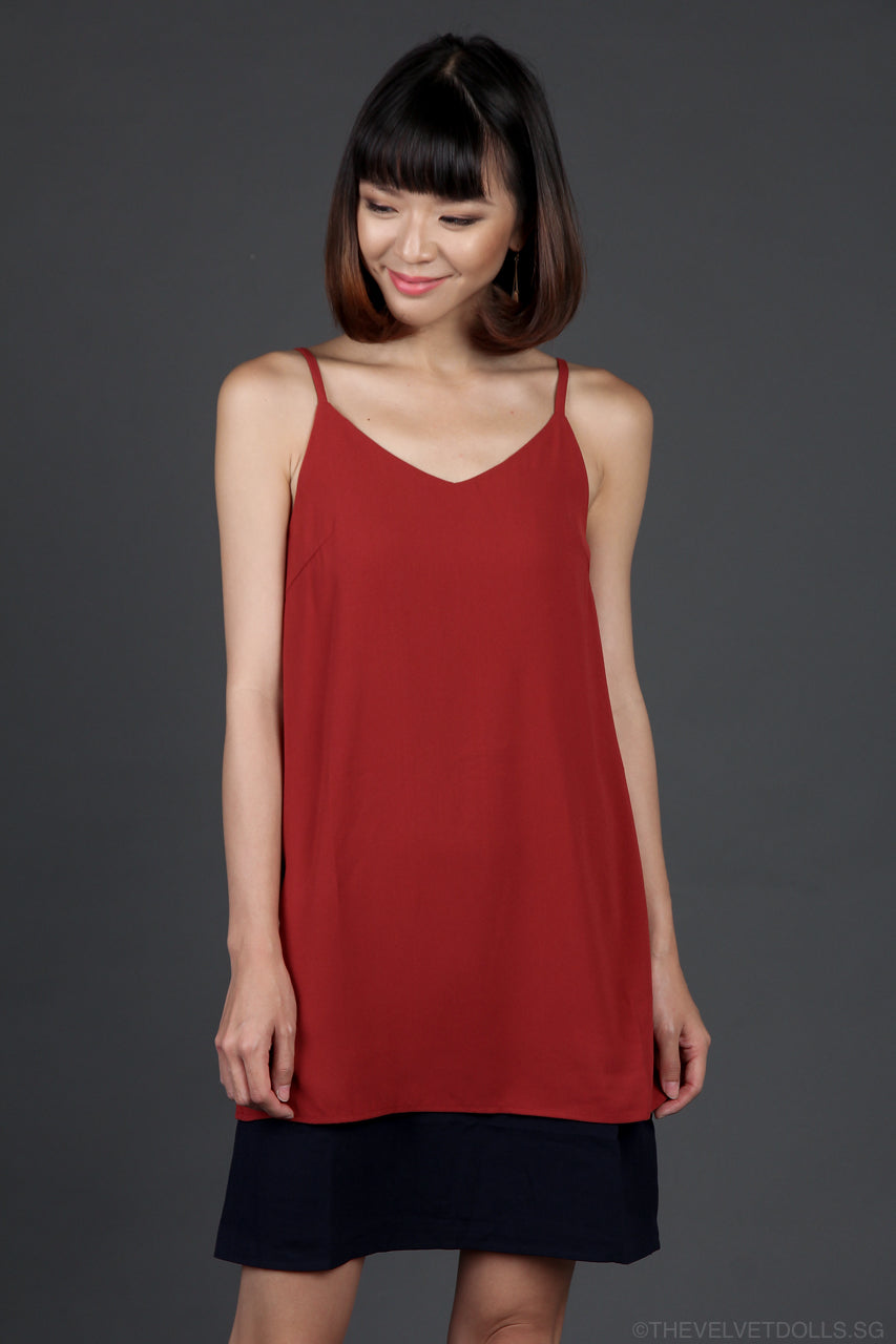 Adena Colorblock Slip Dress in Wine & Navy