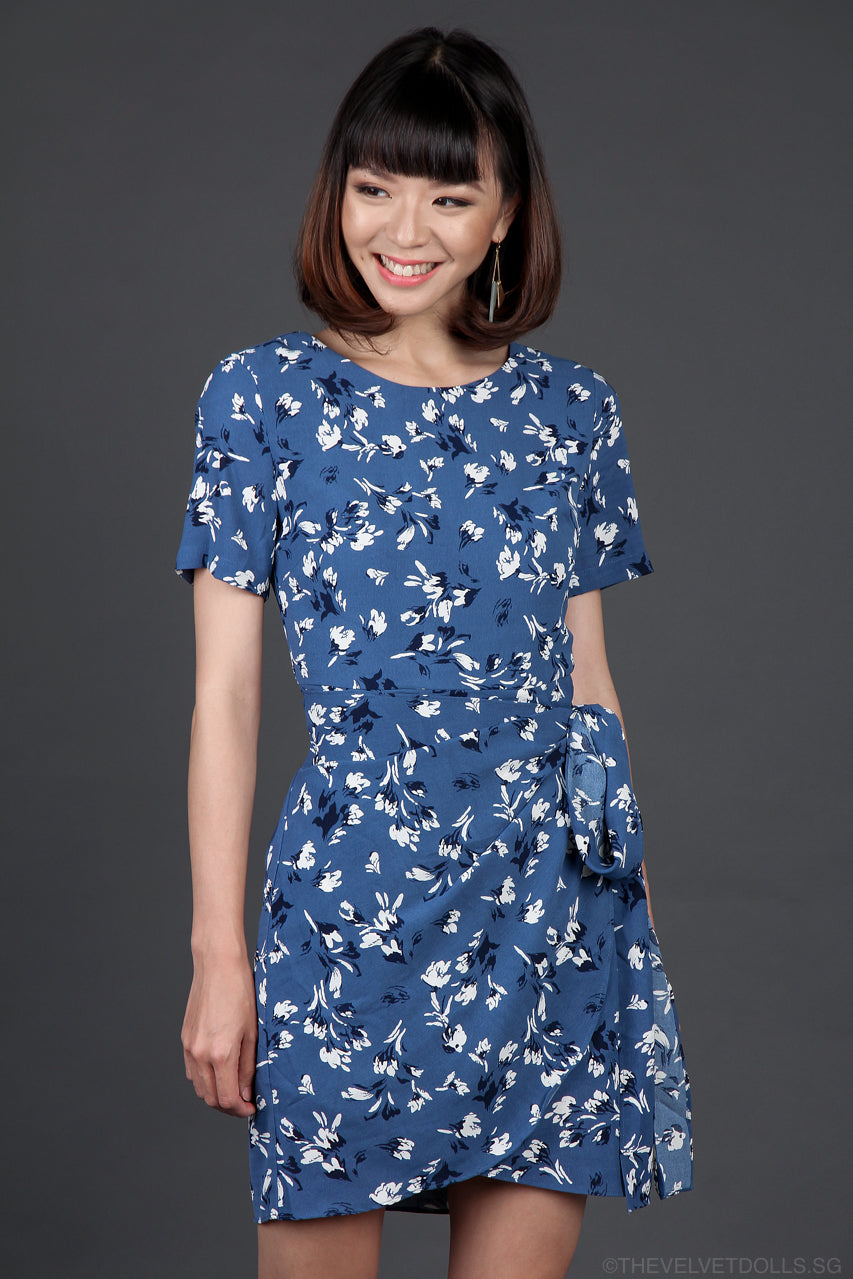 Restocked* Maida Wrap Dress in Blue Florals