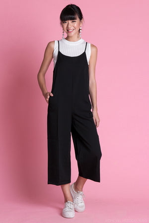 Restocked* Arissa Strappy Culottes Jumpsuit in Black