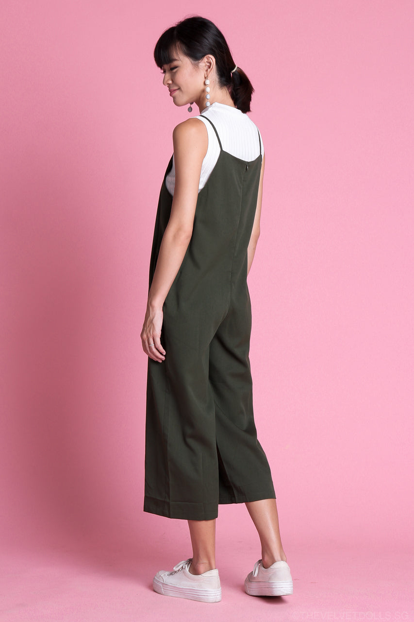 Restocked* Arissa Strappy Culottes Jumpsuit in Olive