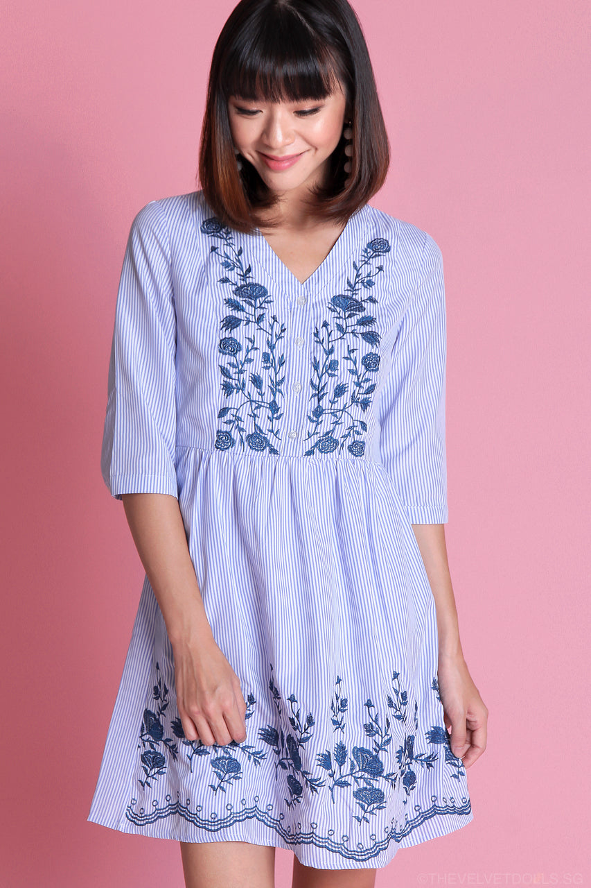 Restocked* Delilah Embroidered Babydoll Dress in Blue Stripes